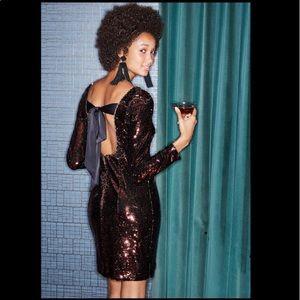 Aidan Mattox Long-Sleeve Sequin BowBack Mini Dress